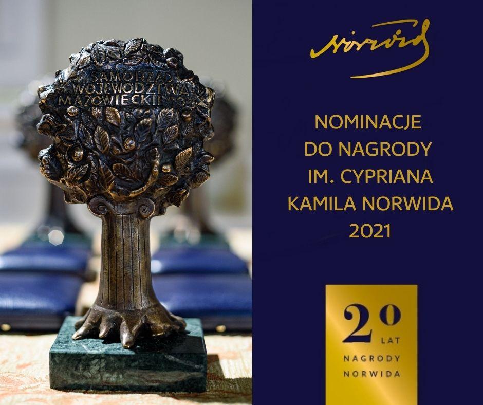 Infografika Nominacje do Nagrody im. Cypriana Kamila Norwida 2021